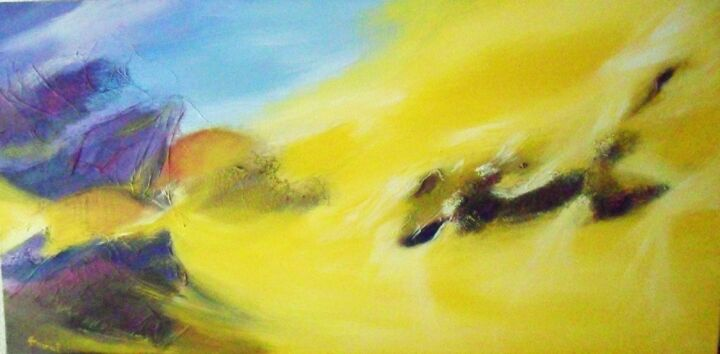 PLENITUDE - Painting,  23.6x47.2 in, ©2012 by Anval -                                                                                                                                                                                                                                                                                                                                                                                                                                                      Abstract, abstract-570, Abstract Art, abstraction, lyrique, abstract, imagination, paysage, contemporain