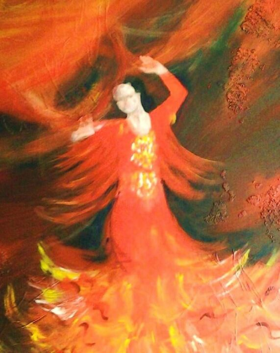 PASSION FLAMENCO - Painting,  80x100 cm ©2012 by ANVAL -                            Canvas, Rouge, flamenco, art, peinture, huile, contemporain, atelier, galerie