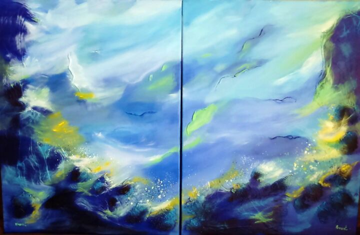 ABYSSE - Painting,  65x100 cm ©2016 by ANVAL -                                                            Abstract Art, Canvas, Seascape, peinture, tableau, abstrait, mer, abysse, galerie, bleu