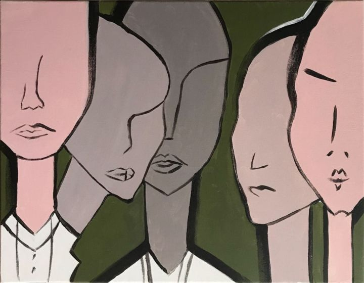 """Painting titled """"People without eyes"""" by Hanna Levanets, Original Art, Acrylic"""