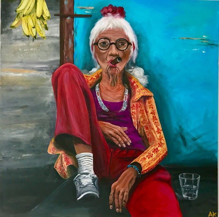 """Painting titled """"I don't give a F***"""" by Anna Kadurina, Original Art, Acrylic Mounted on Wood Panel"""