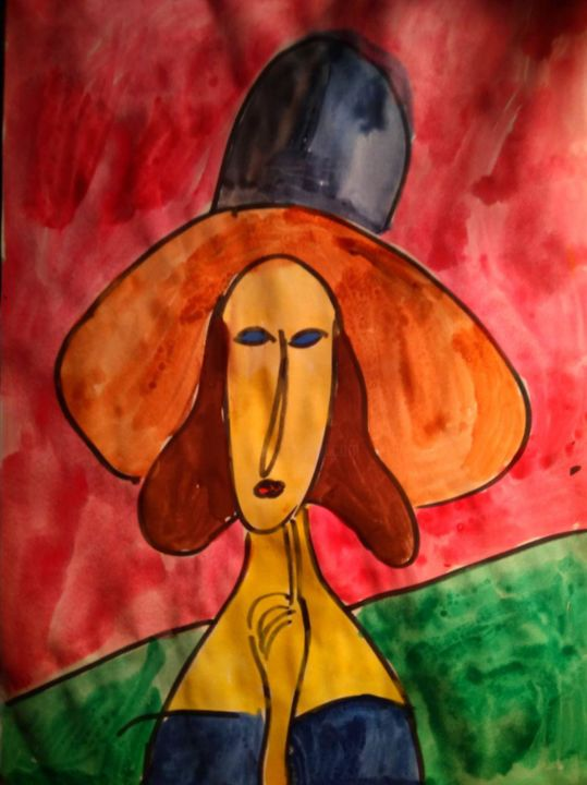 """Painting titled """"Jeanne Hebuterne of…"""" by Anyutka Mel, Original Art, Watercolor"""