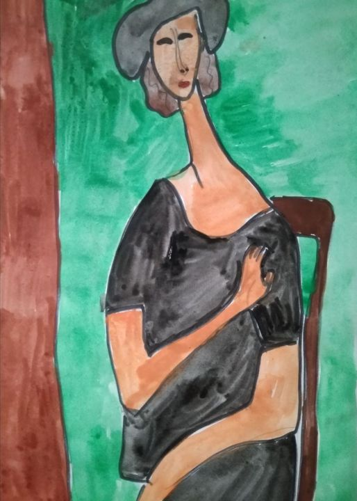 """Painting titled """"Jeanne Hebuterne #…"""" by Anyutka Mel, Original Art, Watercolor"""