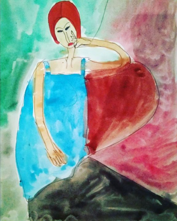 """Painting titled """"Jeanne Hebuterne. A…"""" by Anyutka Mel, Original Art, Watercolor"""