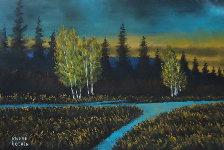 """Painting titled """"Aube automnale"""" by André Potvin, Original Art, Acrylic"""