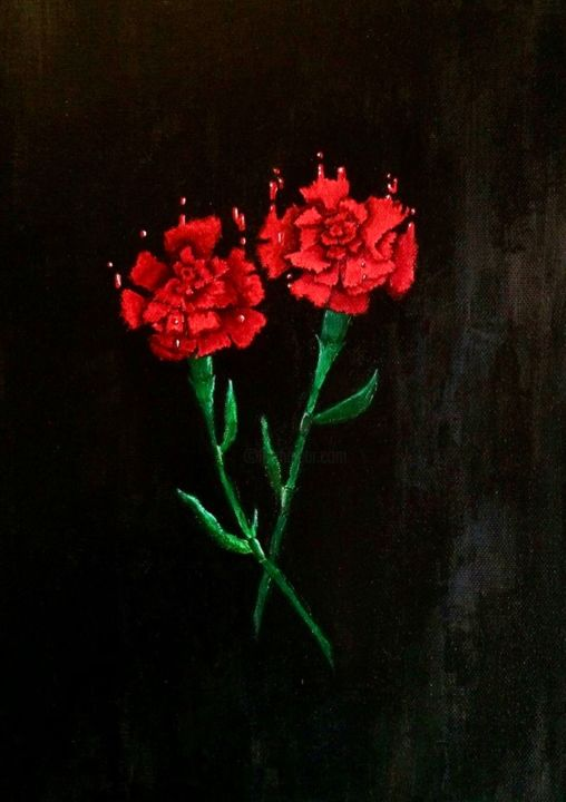 """Painting titled """"Fallen carnations /…"""" by Pavel Frantsev, Original Art, Acrylic Mounted on Stretcher frame"""