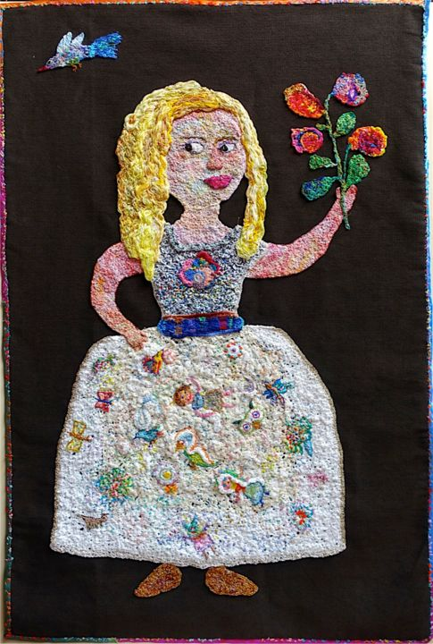 margarita-a-la-robe-blanche.jpg - Mixed Media,  104x70x0.5 cm ©2016 by apignat -                                                                    Outsider Art, Naive Art, Cotton, Kids