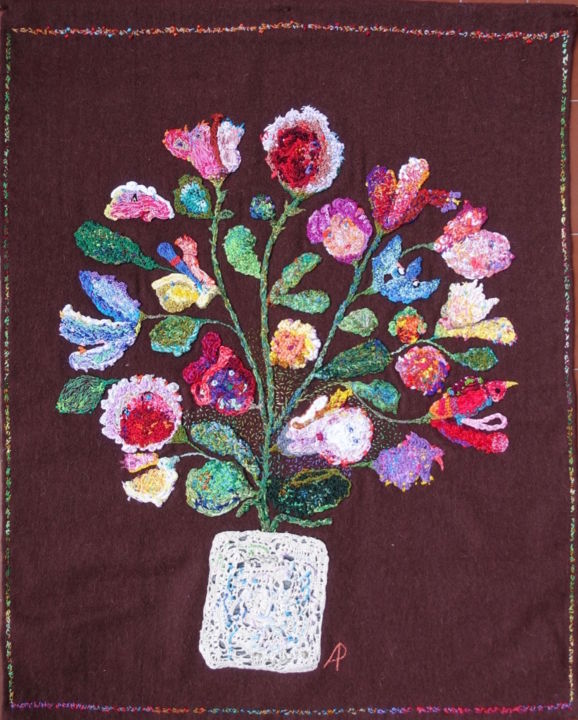 Grand bouquet - Art textile,  31,9x24,4x0,2 in, ©2017 par Apignat -                                                                                                                                                                                                                                                                      Outsider Art, outsider-art-1044, Coton, Tissu, Fleur