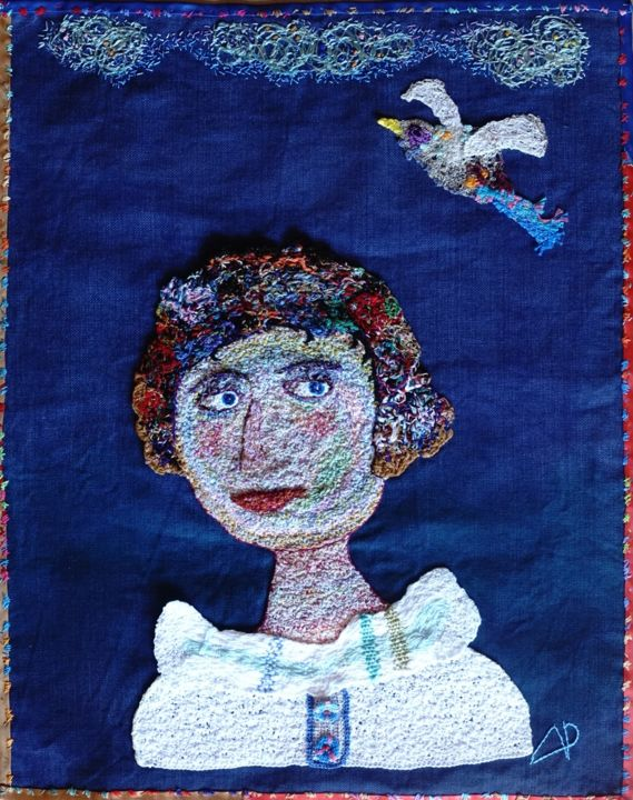 Rétro autoportrait - Textile Art,  24.4x19.7x0.2 in, ©2017 by Apignat -                                                                                                                                                                                                                          Outsider Art, outsider-art-1044, Cotton, Women