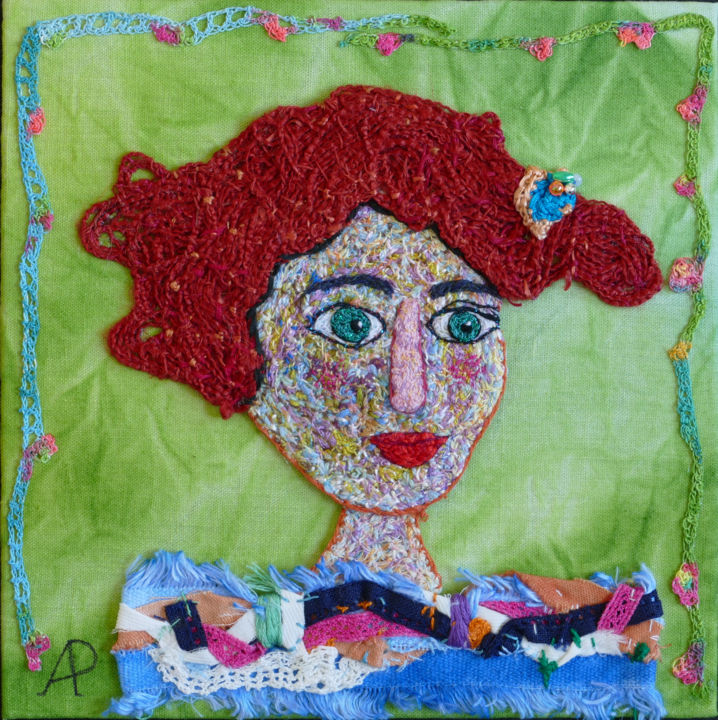 Maureen - Textile Art,  7.9x7.9x0.2 in, ©2020 by Apignat -                                                                                                                                                                          Naive Art, naive-art-948, Portraits