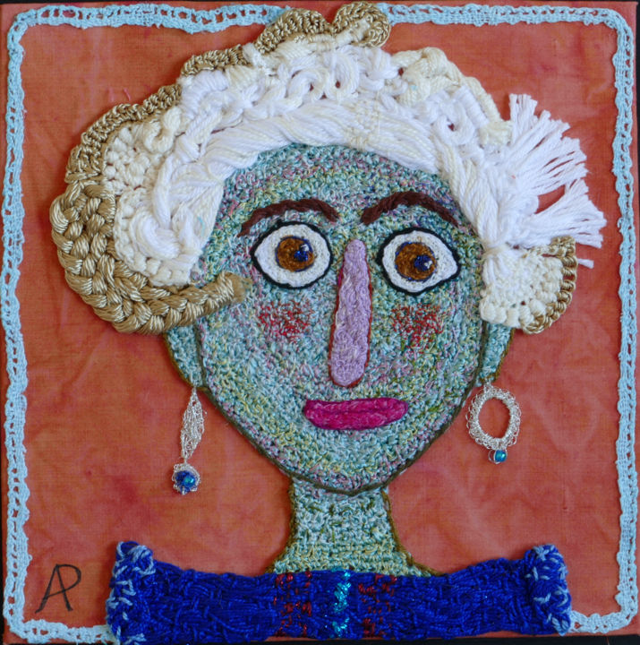 Mère Grand Yéyé - Textile Art,  7.9x7.9x0.2 in, ©2020 by Apignat -                                                                                                                                                                          Naive Art, naive-art-948, Portraits