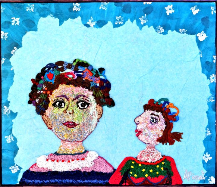 a-la-fenetre.jpg - Textile Art,  14.2x16.5 in, ©2016 by Apignat -                                                                                                                                                                          Outsider Art, outsider-art-1044, Portraits