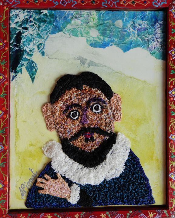 le-barbu-de-tolede.jpg - Mixed Media,  33x27 cm ©2014 by apignat -                                        Outsider Art, Portraits