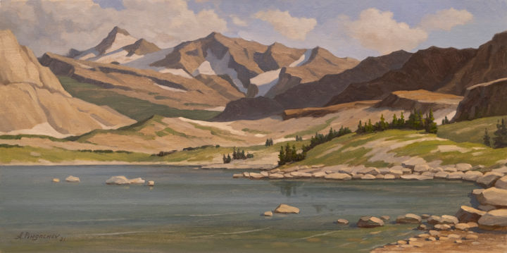 """Painting titled """"Mountain Lake #2"""" by Andrey Pingachev, Original Art, Oil"""