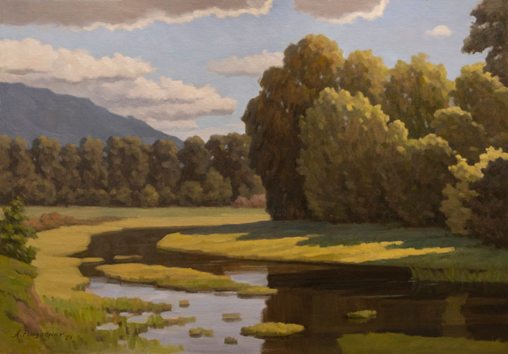 """Painting titled """"Backwater"""" by Andrey Pingachev, Original Art, Oil"""