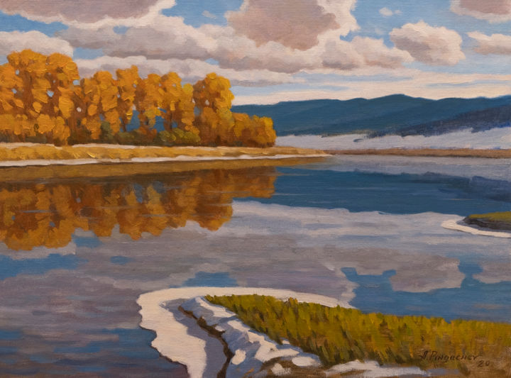 """Painting titled """"First snow in the m…"""" by Andrey Pingachev, Original Art, Oil"""