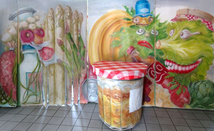 Gachis Bouzouk gaspillage alimentaire... - Painting,  78.7x189 in, ©2016 by Applestrophe -                                                                                                                                                                                                                                                                                                                                                                                                                                                                                                                                                                                                                                                                                      Symbolism, symbolism-1020, Plastic, Fabric, Canvas, Humor, Food & Drink, frigidaire, théatre, décors, ecologie, gaspillage, alimentaire, Pile Poil