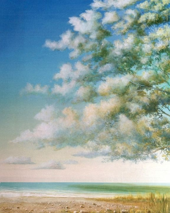 Cycle de l'eau, (première diptyque des arbres) - Painting,  100x80 cm ©2003 by Pierre Marcel -                                                            Figurative Art, Canvas, Tree, Arbres, nature, USA, France, Ecologie