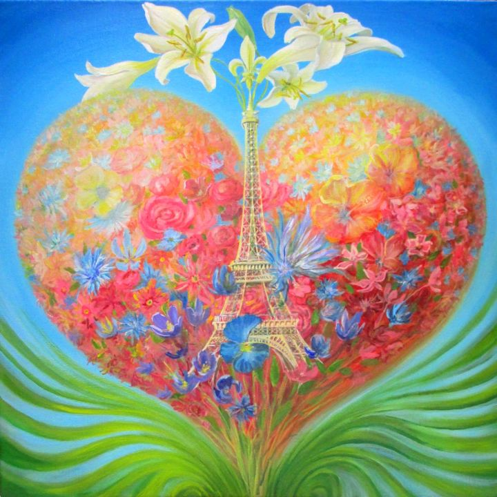 Paris écologique : Saint-Valentin 2019 - Painting,  23.6x23.6 in, ©2019 by Applestrophe -                                                                                                                                                                                                                                                                                                                                                                                                                                                                                                                                                                                                                                                                                                          Love / Romance, Botanic, Flower, Cityscape, Cities, Paris, France, Saint-Valentin, Pierre Marcel, Tour eiffel, amour, écologie, fleurs, Fleur de Lys, Verpal