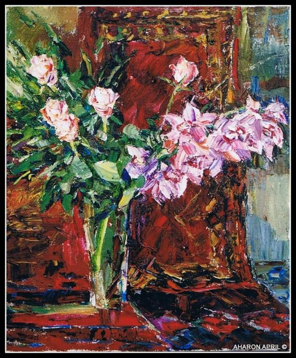 Orchid and roses on red / Цветы на красном - Painting,  32.3x26.4x0.8 in, ©2002 by Aharon ААРОН April      АПРИЛЬ -                                                              Colors