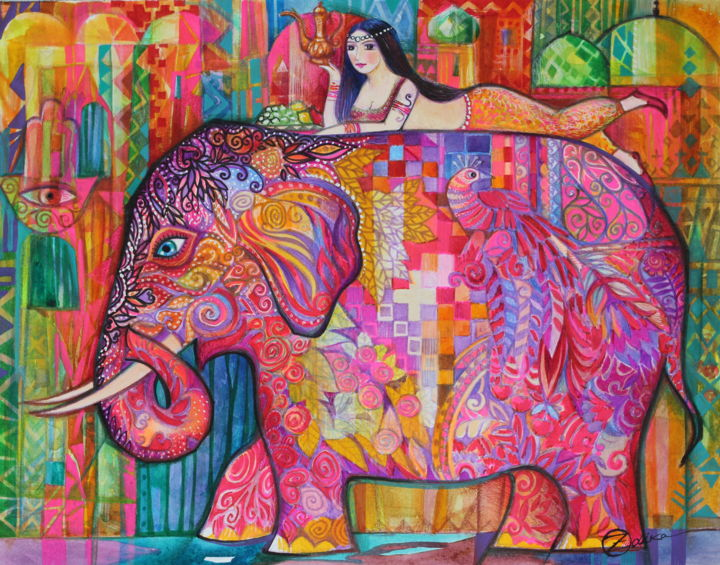 éléphant oriental - Painting,  32x41x0.1 cm ©2017 by Oxana Zaika -                                                                                                                                                            Abstract Art, Art Deco, Figurative Art, Naive Art, Contemporary painting, Paper, Animals, Asia, Fairytales, World Culture, Women, élephant, thee, 1001nuit, oriental, orient, conte, hamsa