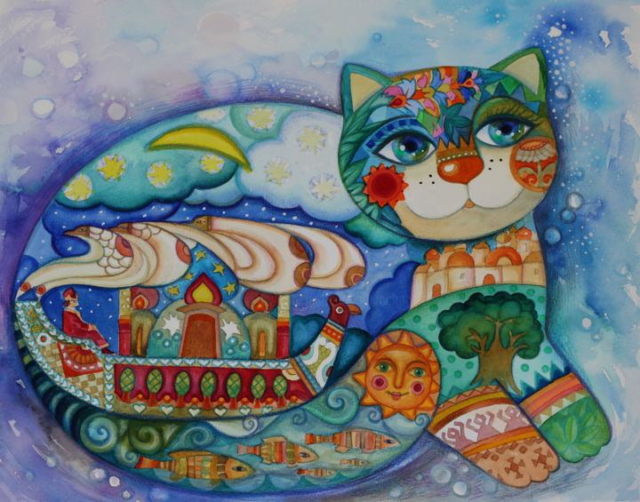 Sadko - Painting,  32x41 cm ©2017 by Oxana Zaika -                                                                                                                                    Art Deco, Figurative Art, Naive Art, Paper, Animals, Boat, Cats, World Culture, Classical mythology, sadko, russe, conte russe, mythologie