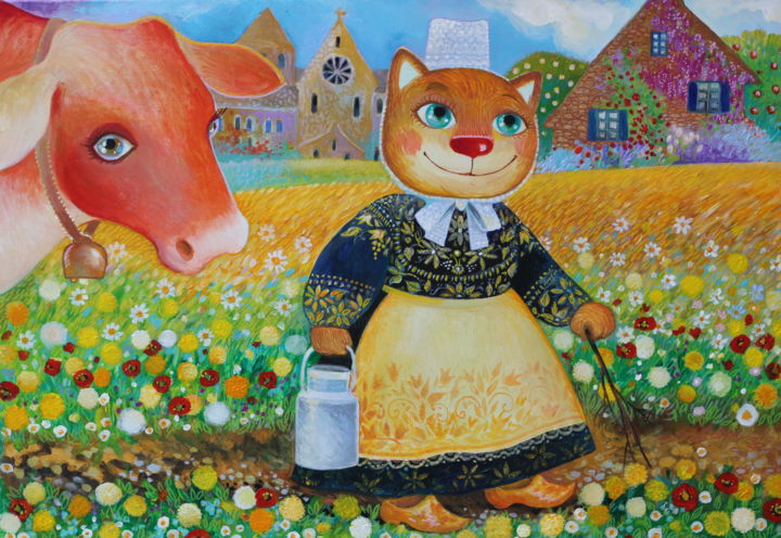 PAYSANNE BRETONNE - Painting,  38x55x2 cm ©2018 by Oxana Zaika -                                                                                                                                                                        Art Deco, Naive Art, Contemporary painting, Folk, Canvas, Animals, Cats, Pop Culture / celebrity, World Culture, Kids, Rural life, Landscape, paysage, village, france, paysanne, bretonne, chat, vache, fleurs, happy