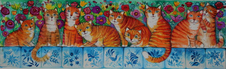 Chats - Painting,  15x50 cm ©2018 by Oxana Zaika -                                                                                                Naive Art, Classicism, Illustration, Contemporary painting, Paper, Animals, chat, chats, chats roux, rouge