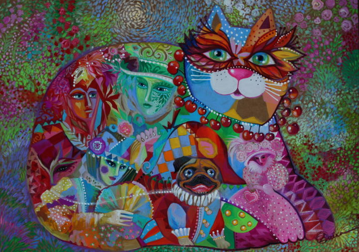 Carnaval - Painting,  36x48x0.1 cm ©2018 by Oxana Zaika -                                                                                                                        Abstract Art, Art Deco, Figurative Art, Naive Art, Paper, Cats, World Culture, Fantasy, chat, chats, carlin, carnaval, venise