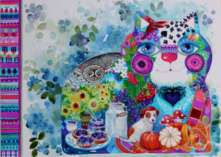 Myrtille chat - Painting,  36x48 cm ©2018 by Oxana Zaika -                                                                                                                                    Art Deco, Naive Art, Classicism, Paper, Animals, Botanic, Cats, Colors, Kitchen, Myrtille, chat, cusine, fantasie