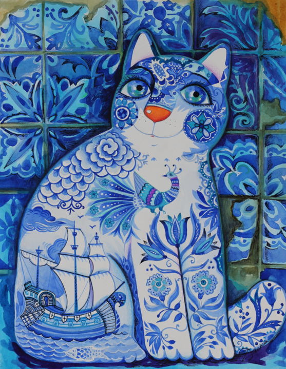 Portugal chat - Painting,  41x31 cm ©2018 by Oxana Zaika -                                                                                    Art Deco, Naive Art, Art Nouveau, Paper, World Culture, chat, chats, portugal, azul