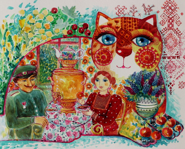 chat russe - Painting,  9.5x11.8 in, ©2017 by Oxana Zaika -                                                                                                                                                                                                                                                                                                                                                                                                                                                                                                                                                                                          Naive Art, naive-art-948, Love / Romance, Cats, Culture, World Culture, chat, chats, kozak, russe, naif, amour