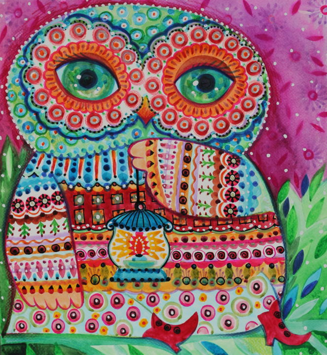 Chouette - Painting,  12.6x11.8 in, ©2018 by Oxana Zaika -                                                                                                                                                                                                                                                                                                                                                                                                                                                      Naive Art, naive-art-948, Flower, Nature, Birds, chouette, hibou, deco, folk
