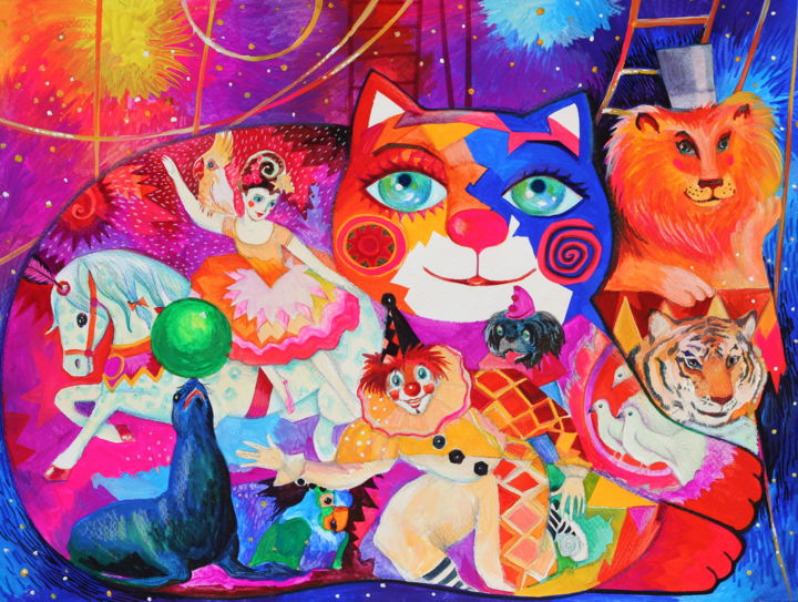 Cirque - Painting,  30x40 cm ©2018 by Oxana Zaika -                                                                                                                        Art Deco, Figurative Art, Naive Art, Paper, Animals, Performing Arts, Cats, Horses, cirque, chat, chats