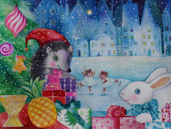 img-8747-copie-2.jpg - Painting,  14.2x18.9 in, ©2018 by Oxana Zaika -                                                                                                                                                                                                                                                                                                                                                                                                                                                                                                                                                                                          Naive Art, naive-art-948, Animals, Cats, World Culture, la belle nuit de Noël, noel, hiver, fantasie, chat, chats, herisson