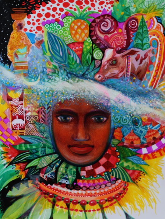 Afrique,voie lactée,été - Painting,  48x36 cm ©2018 by Oxana Zaika -                                                                                                                                                            Abstract Art, Art Deco, Naive Art, Fauvism, Paper, World Culture, Women, Flower, Portraits, Seasons, Travel, été, afrique, voie lactée, femme, portrait