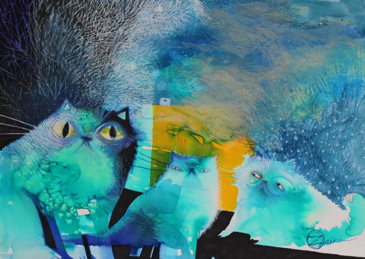 Persian cats - Painting,  29.7x42x0.1 cm ©2018 by Oxana Zaika -                                                                                                Abstract Art, Paper, Animals, Abstract Art, Cats, Colors, chat, chats, nuit, perse
