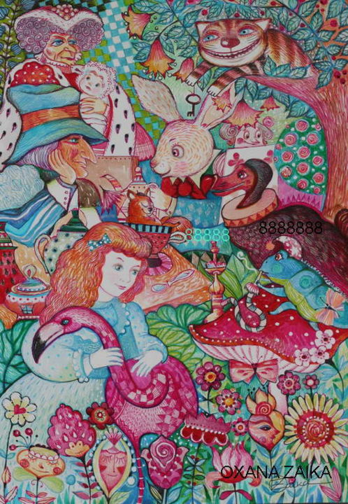 Alice au pays des merveilles - Painting,  16.5x11.7 in, ©2018 by Oxana Zaika -                                                                                                                                                                                                                                                                                                                                                                                                          Figurative, figurative-594, Fairytales, Kids, Alice au pays des merveilles, chat, dodo, lapin blanc