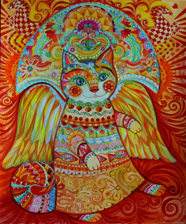 Sun cat - Painting,  42x29.7x0.1 cm ©2018 by Oxana Zaika -                                                                                                                                                Naive Art, Classicism, Fauvism, Paper, Animals, Cats, Colors, World Culture, Fantasy, Light, Soleil, chat, fantasie