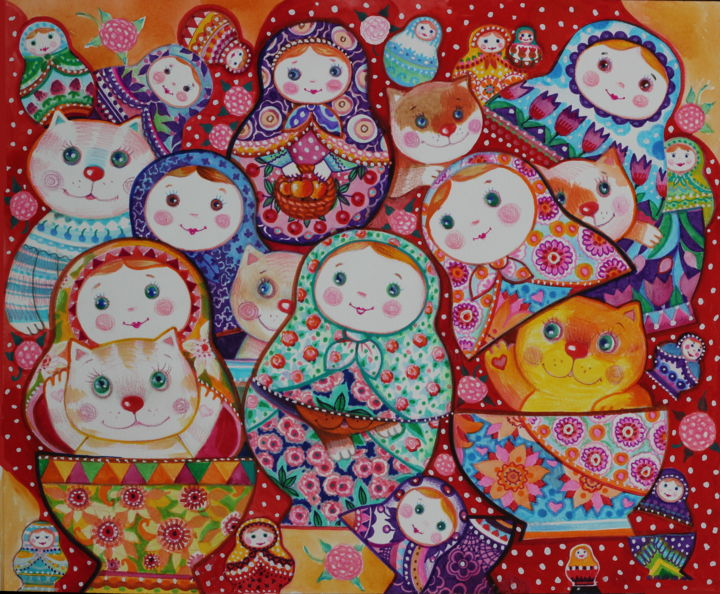 Chats et poupées russe * - Painting,  14.2x18.5 in, ©2019 by Oxana Zaika -                                                                                                                                                                                                                                                                                                                                                                                                                                                                                                                                                                                          Figurative, figurative-594, Animals, Cats, Culture, World Culture, Kids, poupées russe, chat, chats, folk, rouge