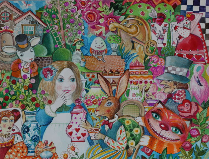Alice au pays des merveilles*- - Painting,  11.8x15.8 in, ©2019 by Oxana Zaika -                                                                                                                                                                                                                                                                                                                                                          Outsider Art, outsider-art-1044, Cats, Fairytales, Pop Culture / celebrity, World Culture, Kids