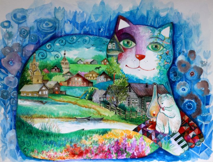 Village cat - Painting,  11.8x15.8 in, ©2019 by Oxana Zaika -                                                                                                                                                                                                                                                                                                                                                                                                                                                                                                                                                                                          Figurative, figurative-594, Animals, Cats, Rural life, Landscape, Mountainscape, village, roustique, chat, chats, aquarelle
