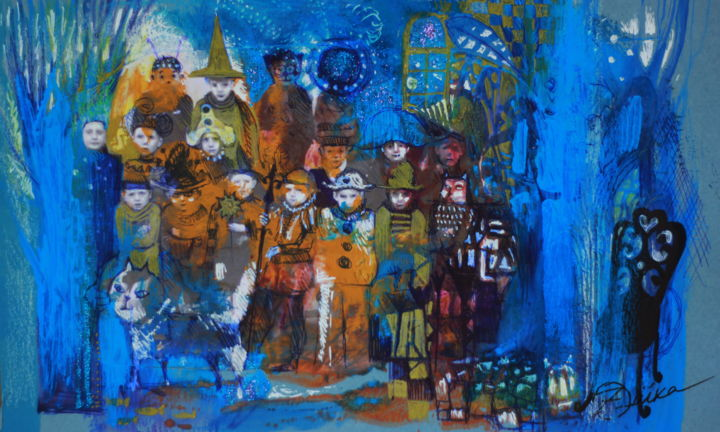 Ecole des sorciers*photo de classe - Mixed Media,  15.5x25x0.1 cm ©2019 by Oxana Zaika -                                                                                                                                                Abstract Art, Figurative Art, Abstract Expressionism, Contemporary painting, Symbolism, Paper, Fairytales, Kids, Fantasy, People, Ecole des sorciers, école, college, magie, photo de classe