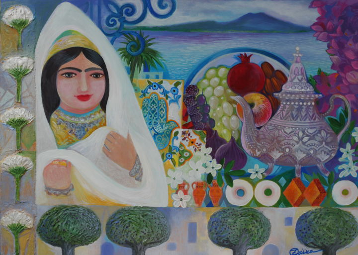 Jasmine - Painting,  19.7x27.6x0.8 in, ©2019 by Oxana Zaika -                                                                                                                                                                                                                                                                                                                                                                                                                                                      Naive Art, naive-art-948, World Culture, Tunisie, Naif, folk, hamsa, judaïka, femme