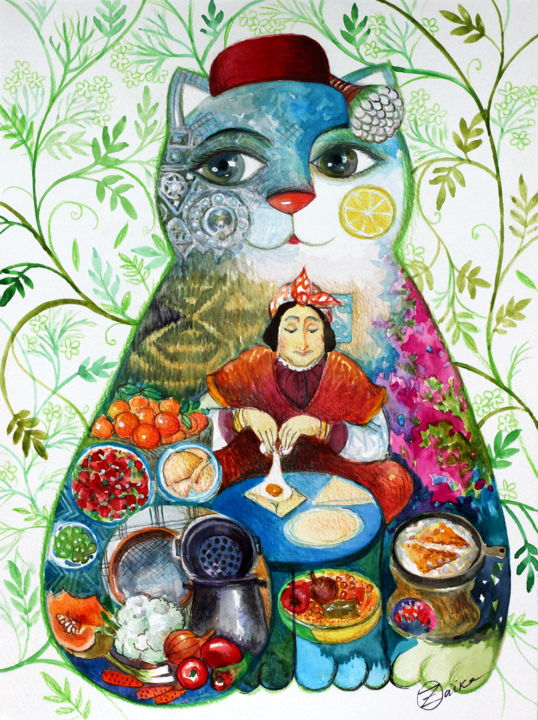 Chat cuisinier - Painting,  12.6x9.5 in, ©2019 by Oxana Zaika -                                                                                                                                                                                                                                                                                                                                                                                                                                                                                                                                                                                          Naive Art, naive-art-948, Cats, Kitchen, World Culture, tunisie, cusine tunisiennes, cusine orientale, orientale, ommok sannafa, judaica, magreb