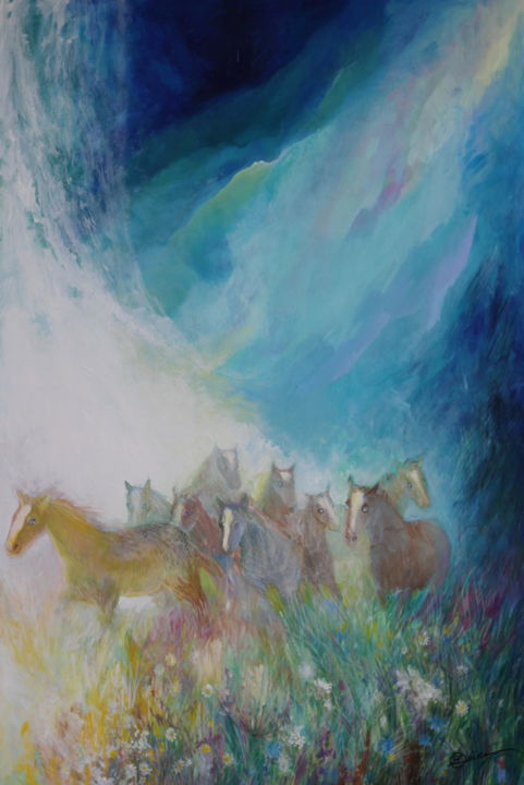 Montagnes - Painting,  47.2x31.5x0.2 in, ©2019 by Oxana Zaika -                                                                                                                                                                                                                                                                                                                                                                                                                                                                                                                                              Abstract, abstract-570, Animals, Horses, Fantasy, Landscape, Mountainscape, montagnes, paysage, chevaux, fantasie