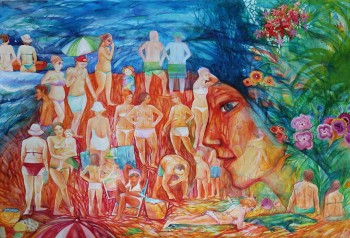 La MER - Painting,  31.5x47.2 in ©2019 by Oxana Zaika -                                                                                                                                Abstract Art, Figurative Art, Naive Art, Classicism, Love / Romance, Body, Water, Family, Women, hommes, femmes, mer, été, espagne, fantasie