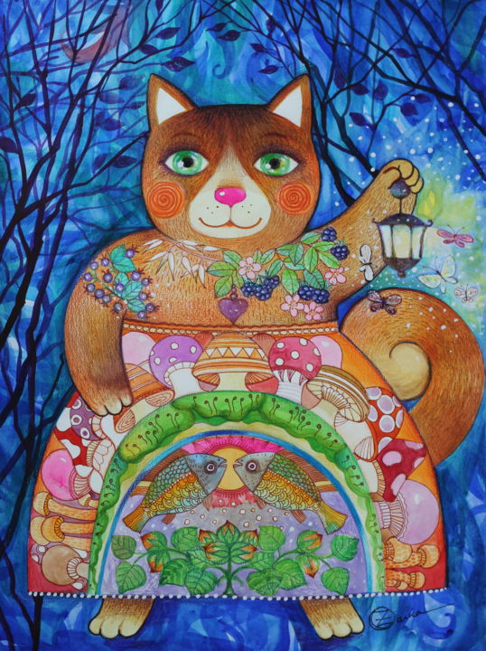 Chat forestier - Painting,  22.1x16.5 in, ©2020 by Oxana Zaika -                                                                                                                                                                                                                                                                                                                                                                                                                                                                                                                                              Naive Art, naive-art-948, Animals, Cats, Fairytales, Fantasy, Nature, forêt, chat, chats, nuit