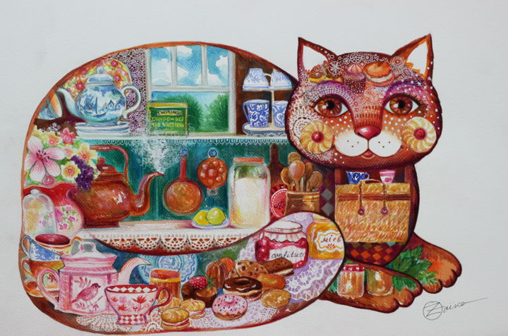 Nature morte et chat - Painting,  14.2x20.1 in, ©2020 by Oxana Zaika -                                                                                                                                                                                                                                                                                                                                                                                                                                                                                                  Naive Art, naive-art-948, Cats, Kitchen, Fantasy, Still life, ferme, maison, cusine, chat
