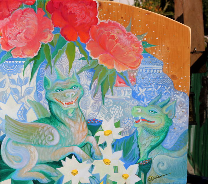 Au pays des lotus - Painting,  22.8x22.8x0.8 in, ©2020 by Oxana Zaika -                                                                                                                                                                                                                                                                                                                                                                                                                                                                                                                                                                                                                                      Naive Art, naive-art-948, World Culture, Fantasy, Classical mythology, Still life, pixiu, pi yao, pi xiu, licorne, chine, mythologie, dragon